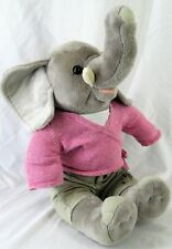 "Plush Elephant Grey Sitting 12"" Tall  Pink Shirt Tan Pants"