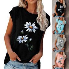 Women Round Neck Short-Sleeve Flower Print T-Shirt Summer Casual Loose Slim Tops