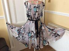Rare Monsoon Grey Oregan Floral Silk Dress Size 10 Bnwt. Hols 9/5