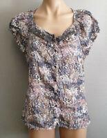 BNWT Ladies Sz 14 Rivers Trim Fit Blue Grey Lace Short Sleeve Button Shirt
