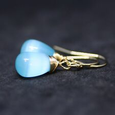 Light Blue Cats Eye Quartz Earrings 14kYellow Gold Filled on Hooks, Wire Wrapped