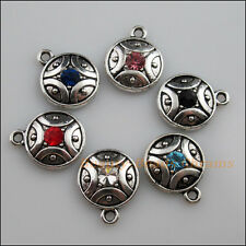 6 New Tibetan Silver Charms Mixed Crystal Round Pendants 16x20mm