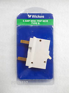 5 AMP MINI-TRIP MCB TYPE B - NO BACKPLATE NEW IN PACKAGING - REPLACE OLD STYLE