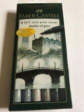 Faber Castell Artist Pitt Brush Pens GREYS Wallet Set of 6 Pens.