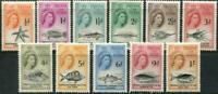 Tristan Da Cunha Queen Elizabeth II 1960 Set of 11 Mint NH Local Fish Stamps