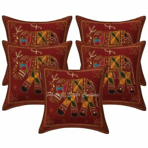 Indian Decorative Sofa Cushion Covers 16 x 16 Gold Embroidered Cotton Pillowcase