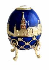 """Copie oeuf Fabergé - """"La Couronne de Moscou"""" Bleu fabrication artisanale"""