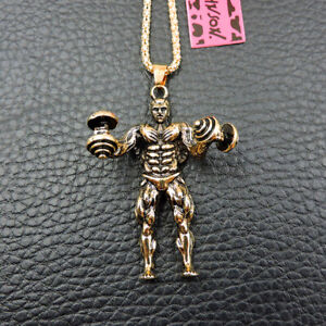 Fashion Betsey Johnson Gold Alloy Dumbbell Muscle Man Pendant Chain Necklace