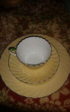 AYNSLEY ENGLISH BONE CHINA CUP AND SAUCER AND LUNCH PLATE yellow SWIRL floral