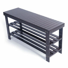 3 Tier Coffee Bamboo Shoe Rack Bench Storage Shelf Organizer Entryway Home Furni