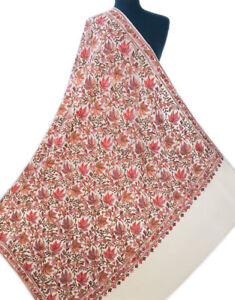 Large Kashmir Wool Shawl with Dense Crewel Embroidery Heirloom Quality Fall Leaf