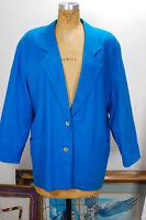 VTG 80s Blue ROO CROSSING Oversized Linen Indie Career Glam Blazer Jacket M/L