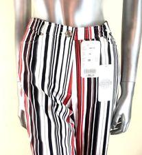 Cavita Mujer Elastizados Pantalones Negro Rojo Blanco De Rayas pierna recta Size UK 12