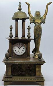 Antique LENZKIRCH Germany Brass Victorian Figural Clock w/ Swiss Music Box Alarm