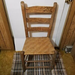 """Woven ladder back chair aprox. 33"""" tall vintage Bamboo Wicker cane Type not sure"""