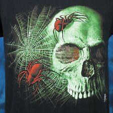 vintage 80s Spider Web Skull Paper Thin T-Shirt Small skeleton rock punk goth