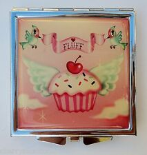 i FLUFF COMPACT MIRROR CUPCAKE HEAVEN cherry angel wings bird 2 magnification
