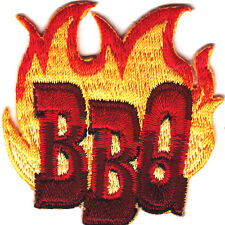"""""""BBQ"""" w/FLAMES - Iron On Embroidered Patch/Cooking, Food, Barbecue, Outdoor"""