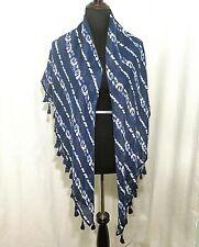 "Hollister Scarf Shawl Blue & White Stripes Batik Tassel Edge 53""x43"""