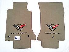 C5 Corvette Carpet Floor Mats Light Shale (Tan) W/Double Logo -Lloyd's Velourtex