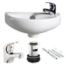 Small Compact Bathroom Cloakroom Basin Sink Wall Hung 395mmx233mm  + Tap+ Waste