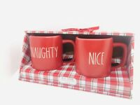 Rae Dunn 2020 Christmas By Magenta NAUGHTY and NICE LL Matte Red Mug, Set of 2