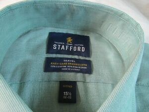 NWT STAFFORD EASY CARE BROADCLOTH STRETCH COMFORT DRESS SHIRT Green Mini Stripe