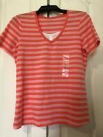 New Coral Bay Size Small Pink Striped Shirt Blouse Top Short Sleeve  V Neck