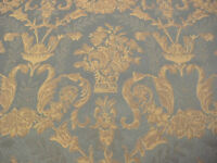 Möbelstoff Polsterstoff edel barockes Muster blau altgold Stilmöbel Tapete Stuhl