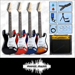 Electric Guitar & Amplifier Stand Cable Tuner Strap Strings Pics 4 Colour Set