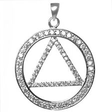 AA Alcoholics Anonymous Glittering Symbol Pendant, #1025 Large Size, Ster.