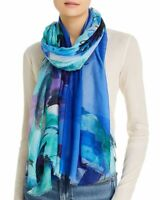 LARIOSETA Como oversized abstract floral modal silk women's scarf wrap - BLUE