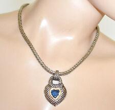 COLLAR PLATA étnico mujer gargantilla colgantes corazón de cristal azul G72
