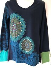 Desigual  Jumper Top, Navy & Multi, UK Size M
