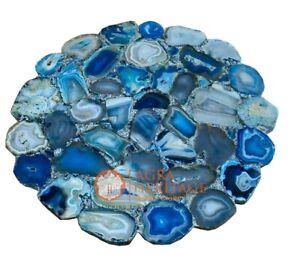 "18"" Blue Agate Top Small Side Coffee Table Handmade Patio Home Gift Decor E1264"