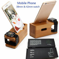 Wood Bamboo Charging Station Charger Dock Stand Holder For Apple Watch iPhone