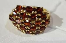 14K YELLOW GOLD ♡  19 GARNETS CLUSTER 3.8 CARATS TOTAL ♡ LADIES RING SIZE 6 3/4