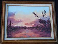 "Original Ronald S. Keyes ""Sunset Over Tucson"" Oil on Canvas Painting Signed art"