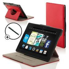 Pelle Rosso Rotante custodia Cover per Amazon Fire HD 7 2014 Gen Con Stilo