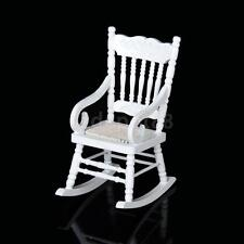 Dollhouse Miniature Furniture Classic White Wooden Rocking Chair 1:12 Scale