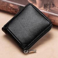 100% Genuine Leather Men's Zipper Wallet RFID Blocking ID Card Holder Money Clip