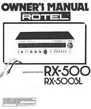 Rotel RX-500SL Receiver Owners Manual