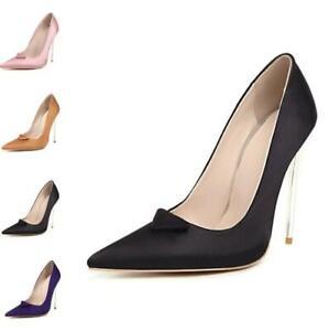 Occident Women Pointy Toe Satin Dress Stiletto High Heel Wedding Shoes 44-48 L