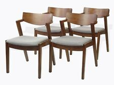 Set of 4 Solid Wood Tracy Dining Kitchen Modern Armchairs Medium Brown Finish