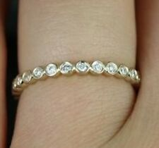 0.23 Round Cut Diamond Bezel 14 k White Gold Eternity Band Ring