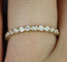 0.23 Redondo Diamante Bisel 14 K Oro Blanco Anillo De Banda De La Eternidad
