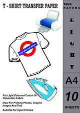 10 x A4 Iron-On T-Shirt Transfer Paper For Light Fabrics