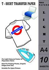 10 x A4 FERRO-Su T-Shirt Trasferire Carta per tessuti leggeri