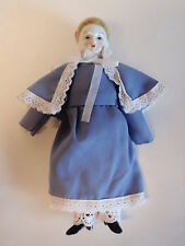 Vintage Porcelain Head Hands Feet Victorian Dressed Doll Blue Caped Coat Dress