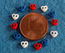 1:12 Schneiderei: 12 winzige Herz-Knöpfe rot//blau//weiß 3 x 4 mm 2-Loch ca